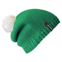 Beanie No.1 - Mützenfarbe Smaragd - Bommelfarbe Fakefur Weiß