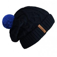 Beanie No.2 - Mützenfarbe Dunkelblau - Bommelfarbe Blau