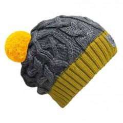 Beanie No.3 - Mützenfarbe Gelb-Grau - Bommelfarbe Gelb