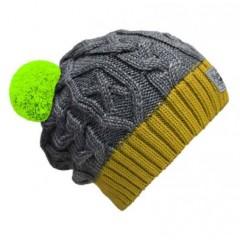 Beanie No.3 - Mützenfarbe Gelb-Grau - Bommelfarbe Neongrün