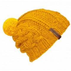 Beanie Handmade Zopf - Mützenfarbe Gelb - Bommelfarbe Gelb
