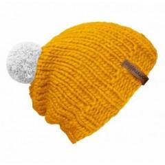 Beanie Handmade - Mützenfarbe Gelb - Bommelfarbe Weiß