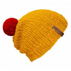 Beanie Handmade - Mützenfarbe Gelb - Bommelfarbe Rot