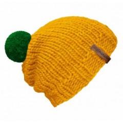Beanie Handmade - Mützenfarbe Gelb - Bommelfarbe Grün