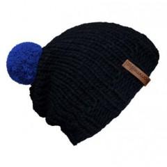 Beanie Handmade - Mützenfarbe Anthrazit - Bommelfarbe Blau
