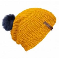 Beanie Handmade - Mützenfarbe Gelb - Bommelfarbe Fakefur Blau