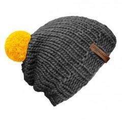 Beanie Handmade - Mützenfarbe Grau - Bommelfarbe Gelb